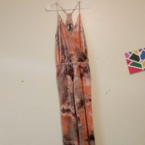 Young Fabulous & Broke Jumpsuit: Orange and Brown